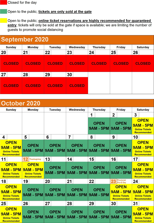 2020 Hours Calendar - NORTH