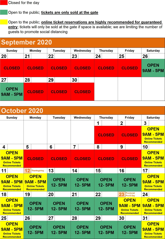 2020 Hours Calendar - SOUTH