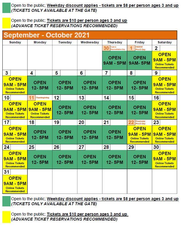 2021 Hours Calendar - South